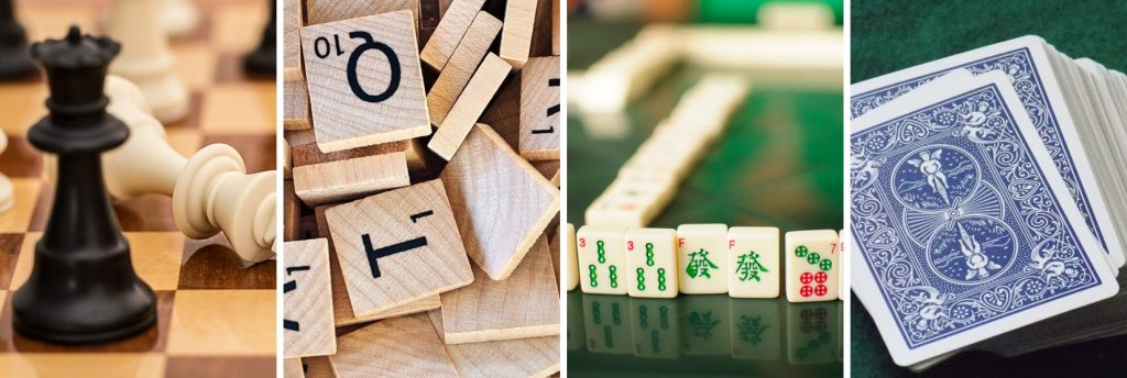Four images in a row depicting chess pieces, Scrabble tiles, Mah Jongg tiles, and a deck of cards