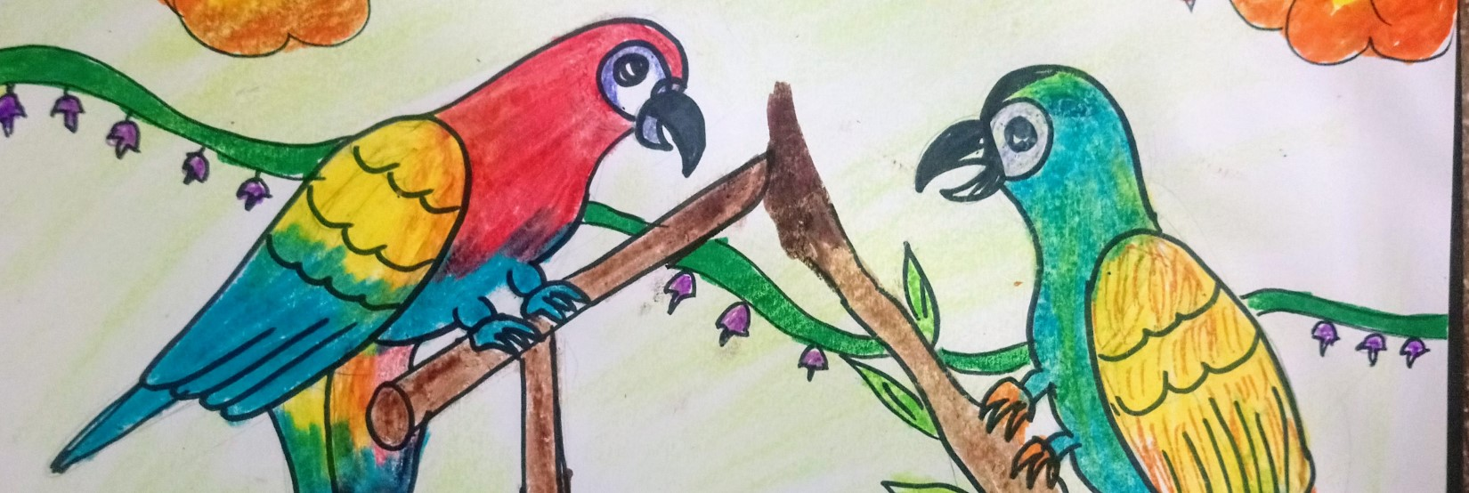 Kids Art Class Tropical Bird Drawing William Jeanes Library